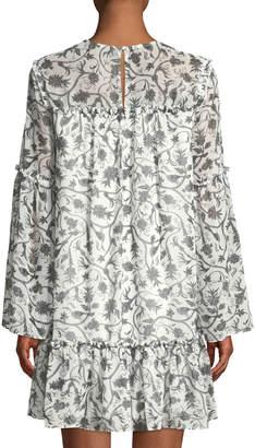 Kensie Printed Crewneck Ruffle Long-Sleeve Shift Dress