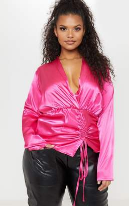 6db6904302 PrettyLittleThing Plus Pink Satin Ruched Side Blouse