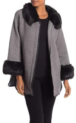 Bacci Olivia Faux Leather Trimmed Faux Fur Sweater Jacket