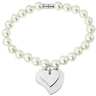 At Co Uk Ornami Base Metal Plastic Pearl Magnetic Clasp Bracelet 19cm Heart Charm