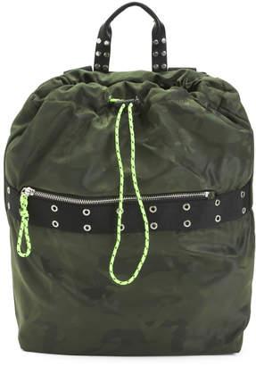 Camo Printed Nylon Drawstring Backpack