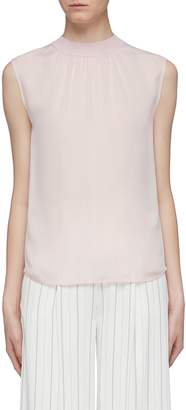 Vince Ruched neck silk sleeveless top
