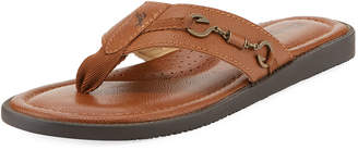 Tommy Bahama Belazzio Leather Flip-Flop with Anchor Detail