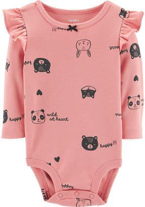 Carter's Slogan Long Sleeve Bodysuits - Girls Nb-24m - Baby