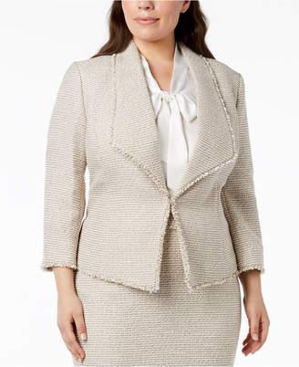 Kasper Plus Size Tweed Kiss-Front Blazer