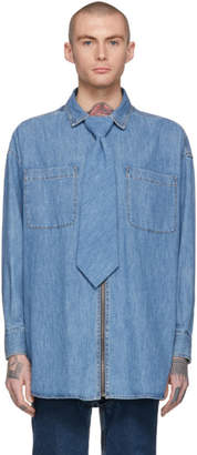Diesel Red Tag Indigo Shayne Oliver Edition Denim Tie Shirt