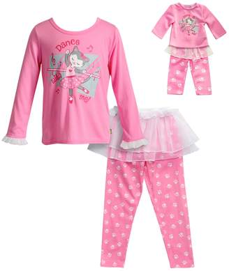"Dollie & Me Girls 4-14 Dance With Me"" Ballerina Cat Top, Tutu & Bottoms Pajama Set"