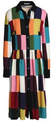 House of Holland Color-Block Brushed Woven Shirtdress