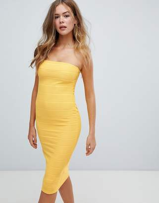 Missguided bandeau bandage midi dress in yellow