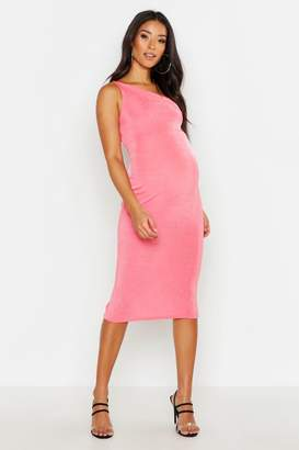 boohoo Maternity Slinky One Shoulder Midi Dress