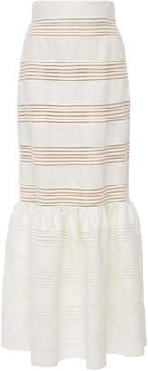 Zimmermann Corsage Striped Linen Midi Skirt
