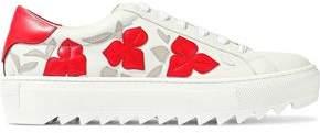 Salvatore Ferragamo Eddy Floral-Appliquéd Leather Platform Sneakers