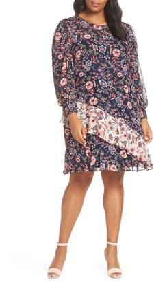 Eliza J Floral Print Contrast Ruffle Detail Dress
