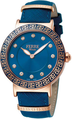 Ferré Milano Women's 38mm Stainless Steel Watch with Leather Strap, Rose/Blue
