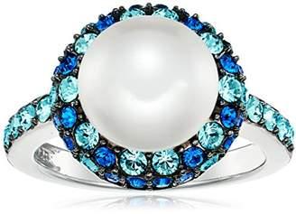 Crystal Pearl Platinum Plated Sterling Silver Swarovski Ring with Swarovski Blue Crystal Ring