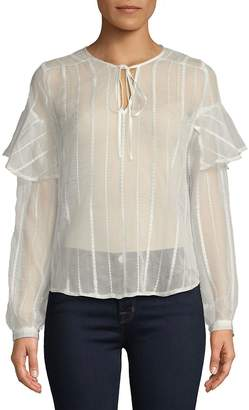 J.o.a. Women's Embroidered Stripe Blouse