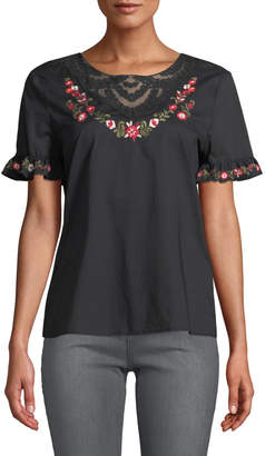 Karl Lagerfeld Paris Floral Embroidery Lace-Neck Dress