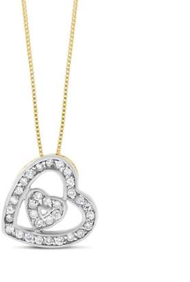 14k Yellow Gold 0.25 Ct. Natural Diamond Tilted Slanted Heart Pendant