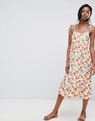 Asos DESIGN floral print midi smock sundress with tie straps