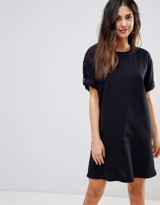 Asos DESIGN Ultimate Rolled Sleeve T-Shirt Dress With Tab