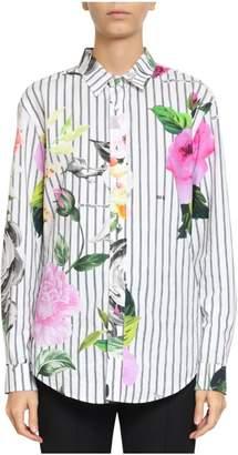 Off-White Cotton Poplin Floral Shirt