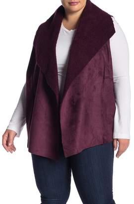Susina Faux Suede Faux Shearling Lined Vest (Plus Size)