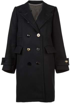 Sacai double breasted band collar coat