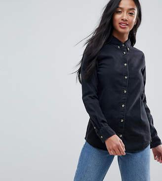 Asos DESIGN Petite denim shirt in washed black