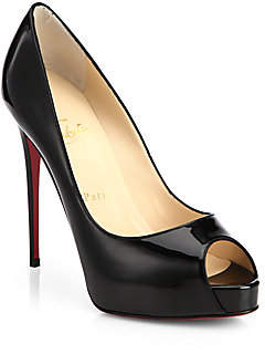 Christian Louboutin Women's New Very Prive 120 Patent Leather Peep Toe Pumps