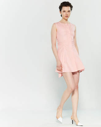 Carven Pink Ruched Fit & Flare Mini Dress