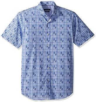 Bugatchi Men's Short Sleeve Fitted Printed Cotton Sport Shirt