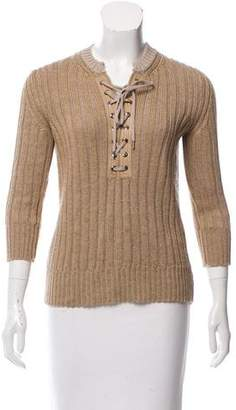Chloé Lacing-Accented Rib Knit Sweater