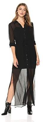 Adrianna Papell Women's Spider Chiffon Shirt Maxi Dress