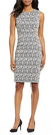Calvin KleinCalvin Klein Sleeveless Jacquard Sheath Dress