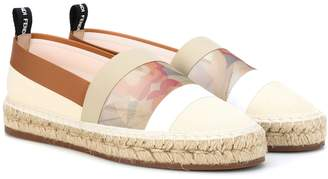 Fendi Canvas and mesh espadrilles
