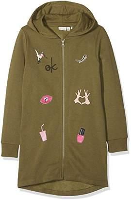 Name It Girl's Nkflysita Bru SWE Long Card W. Hood Sweat Jacket,(Manufacturer Size: 134)