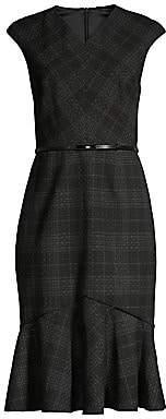 Elie Tahari Women's Kaitlyn Plaid Flounce Sheath Dress