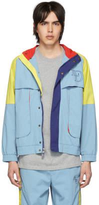 Leon Aime Dore ブルー カラーブロック ロゴ ウィンドブレーカー ジャケット