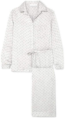Pour Les Femmes - Linen And Silk-blend Jacquard Pajama Set - Stone