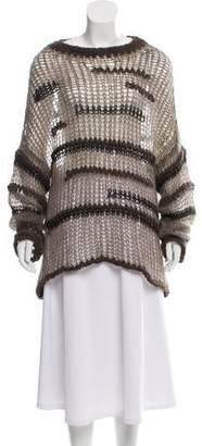 Isabel Benenato Sheer Wool-Blend Sweater