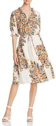 Tory Burch Arabella Printed Silk Ruffle Dress