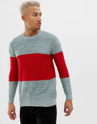 Pull&Bear color block sweater in gray and red