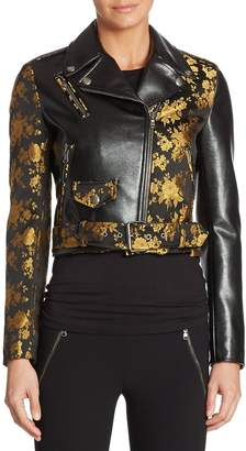 Moschino Women's Floral-Print Leather Jacket