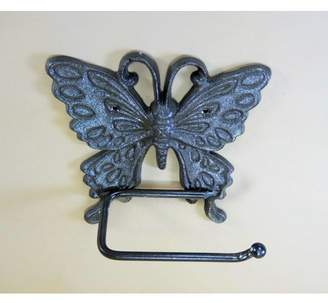 Carvers Olde Iron Butterfly Toilet Paper Holder in Cast Iron, Natural Finish