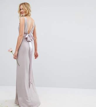 TFNC Sateen Bow Back Maxi Bridesmaid Dress