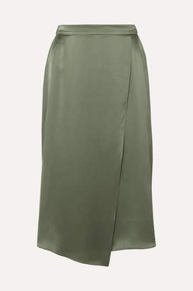 Vince Wrap-effect Draped Silk-satin Skirt - Army green