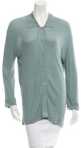 Hermès Rib Knit Button-Up Top