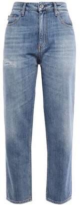 Love Moschino Cropped Distressed Faded Straight-leg Jeans