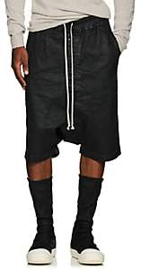 Rick Owens Men's Waxed Drop-Rise Jean Shorts - Black