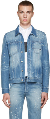 Givenchy Blue Distressed Denim Jacket $1,295 thestylecure.com